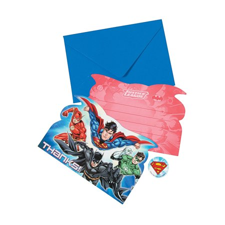 Justice League Thank Yous for Birthday - Party Supplies - Licensed Tableware - Licensed Invitations - Birthday - 8 Pieces](Justice League Invitations)