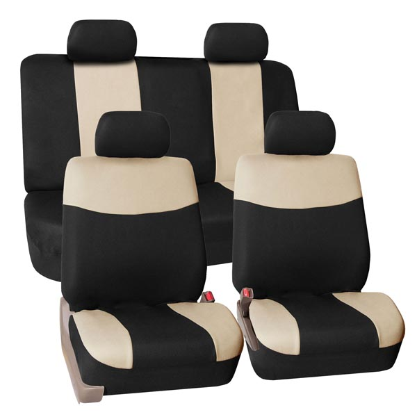 FH Group Modern Flat Cloth Full Set Seat Covers, Beige and Black