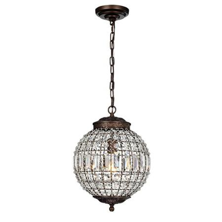 Mordae Antique Bronze 12-Inch Crystal Globe 1-Light ...