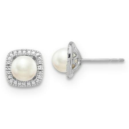 SS Pearl & Diamond Earrings (Ss White Pearl)