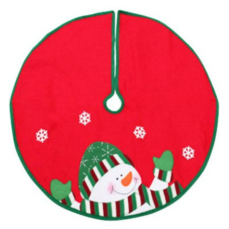 Dyno Seasonal Solutions 2243649-3CC Christmas Tree Skirt, Mini, Snowman, Red & Green Felt, 24-In. ()