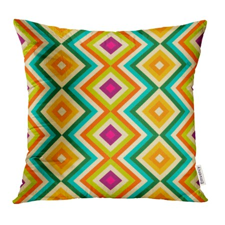 ARHOME Ethnic Tribal Zig Zag and Rhombus for Beauty Blue Orange Pink and Yellow Colors Pillow Case Pillow Cover 16x16 inch Throw Pillow Covers](Pink Orange Color)