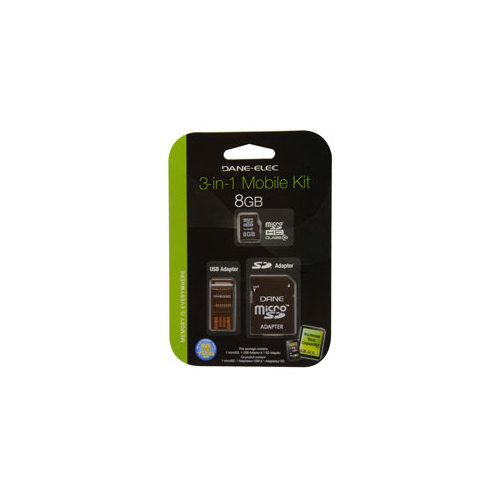 DANE-ELEC DA3IN11008GR 8GB 3-IN-1 MICRO SD CARD AND ADAPTER MOBILE KIT