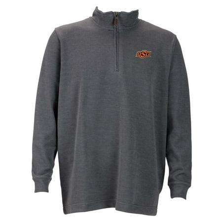 Oklahoma State Mens 1 4 Zip Flat Back Rib Pullover  Color  Grey
