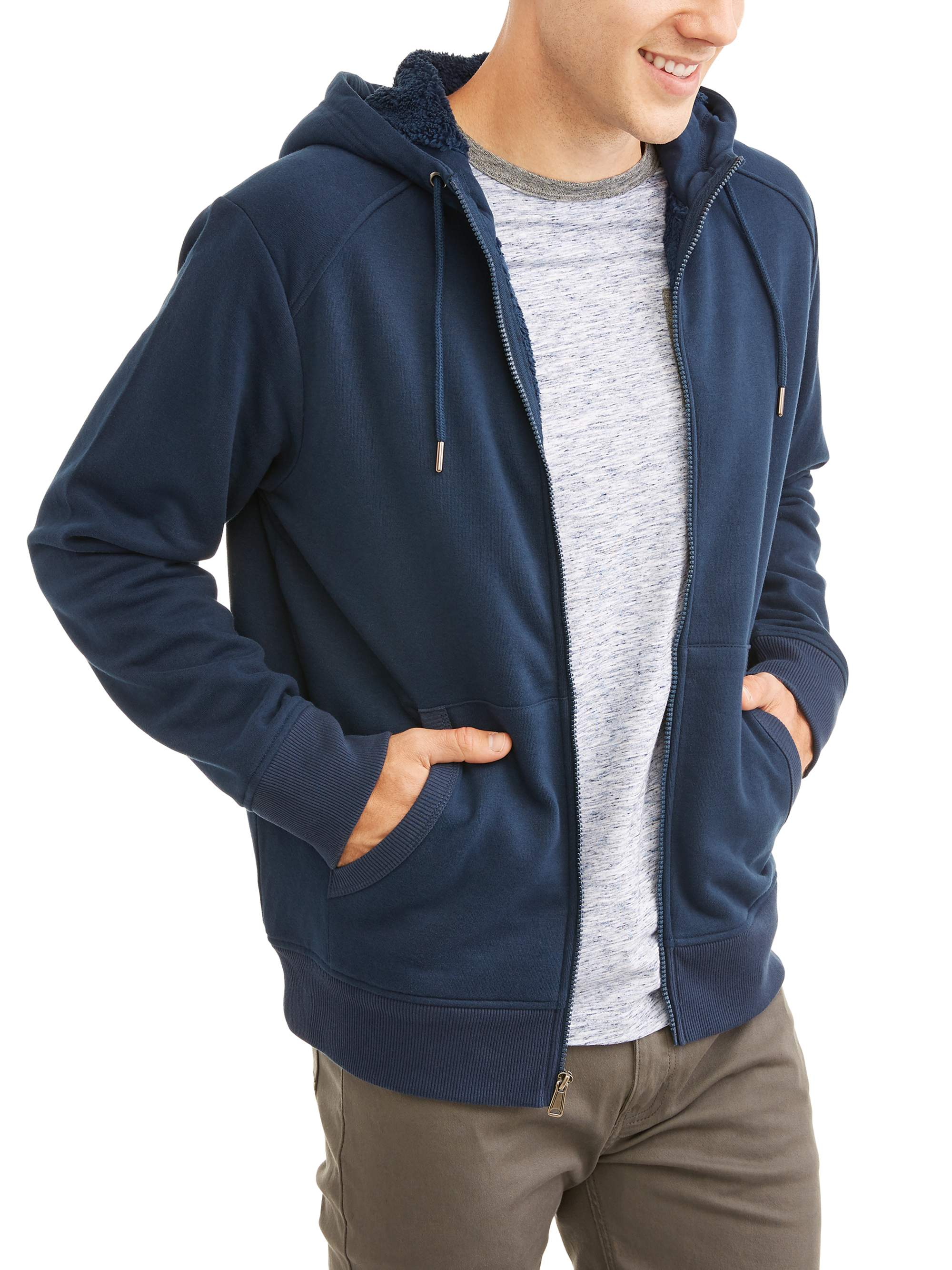 e4842556 George - George Men's Sherpa Hoodie Up To Size 5Xl - Walmart.com