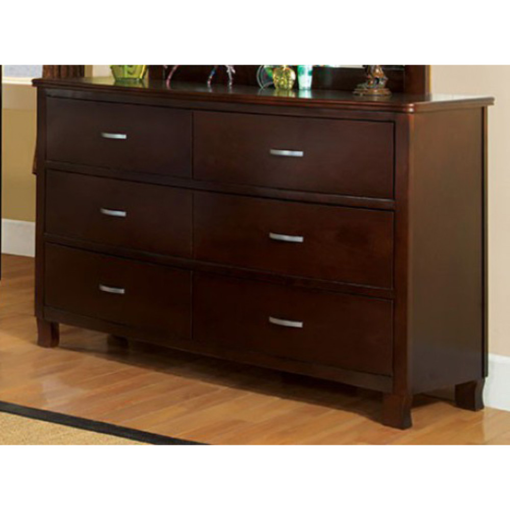 Steezy Wooden Dresser In Transitional Style, Brown Cherry