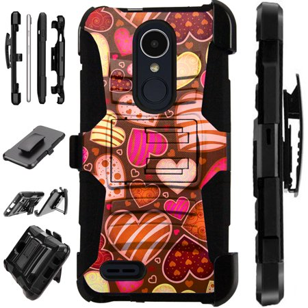 For LG Rebel 4 | LG Rebel 3 Case Armor Hybrid Silicone Cover Stand LuxGuard Holster (Chocolate Hearts) Lg Chocolate 3 Silicone