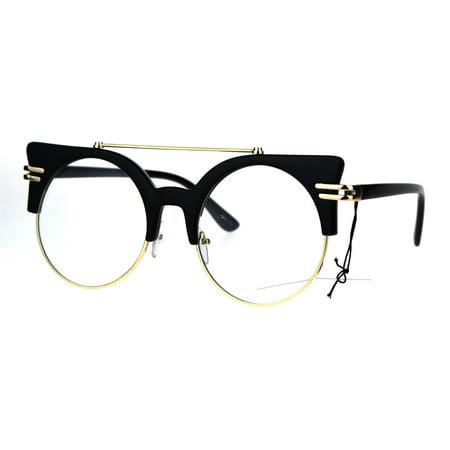Womens Retro Half Rim Round Mid Century Vintage Style Eye Glasses Black - Glowing Shot Glasses