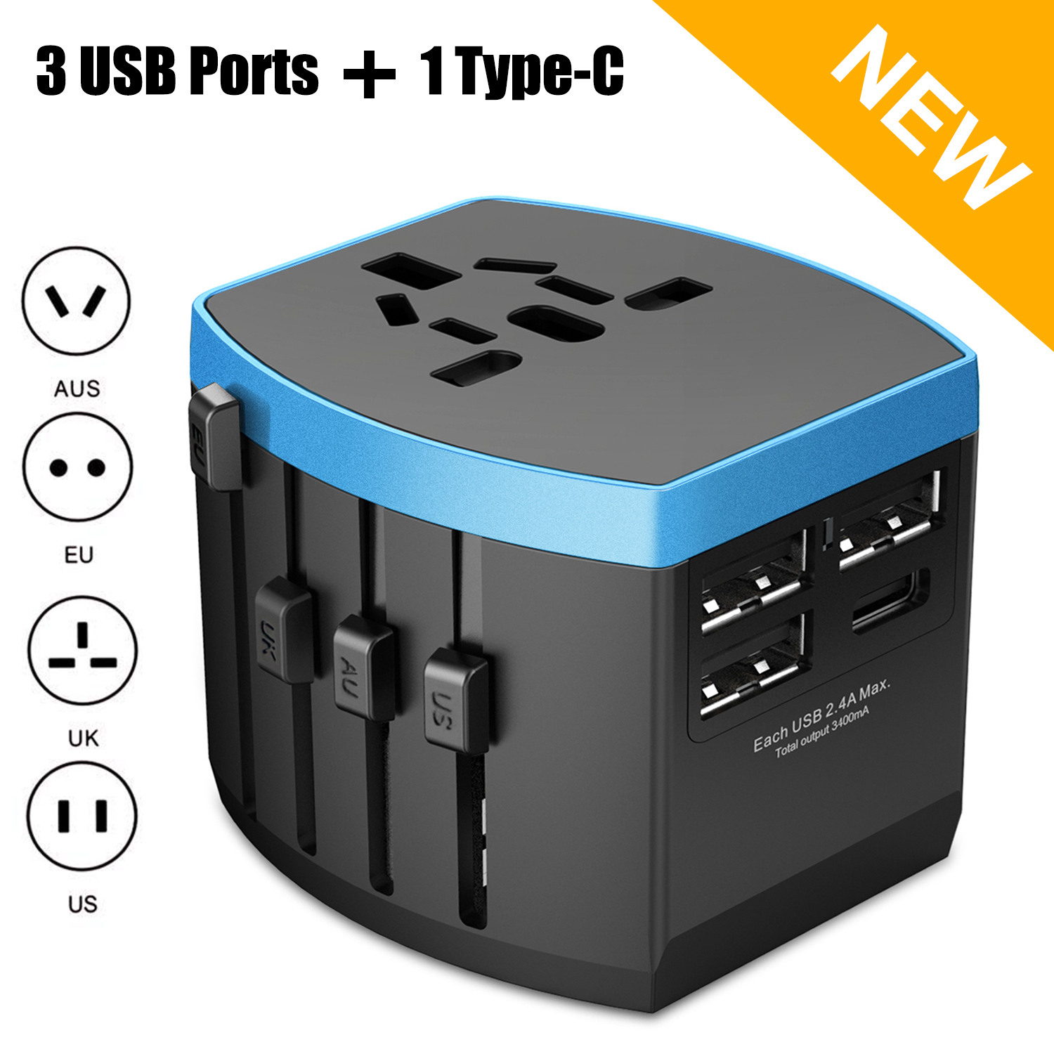 Nerdi Universal Travel Adapter, All in one International Power Adapter for US / UK / Europe / AUS Over 150 Countries Worldwide, 1 AC Outlet + 1 Type-C Port + 3 USB Ports
