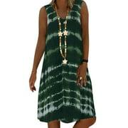 Women V Neck Plus Size Loose Sundress Sleeveless Floral Casual Beach Midi Dress
