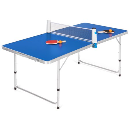 Best Choice Products 58in Indoor Outdoor Portable Folding Ping Pong Table Tennis Game Set w/ 2 Balls, 2 Paddles, Net,  Built-In Handles - Blue ()