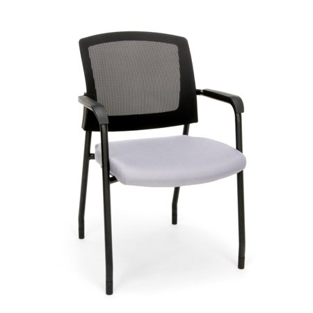 Grid Back Guest Chair (OFM Model 424 Mesh-Back Fabric Guest and Reception Waiting Room Chair, Gray )