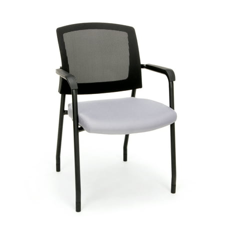OFM Model 424 Mesh-Back Fabric Guest and Reception Waiting Room Chair, Gray (Ofm Guest Reception)