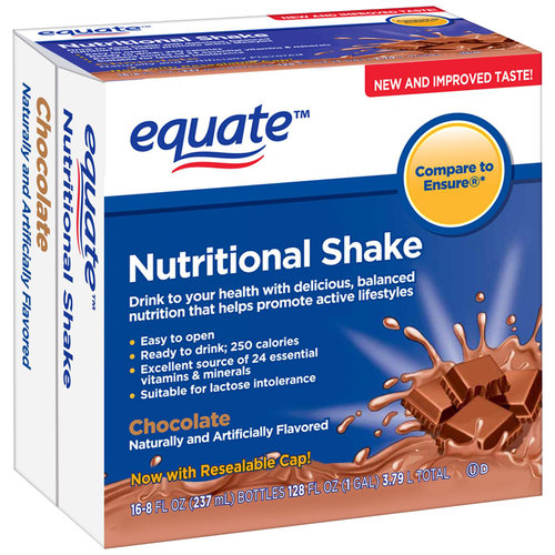Equate Chocolate Nutritional Shake, 8 fl oz, 16 count