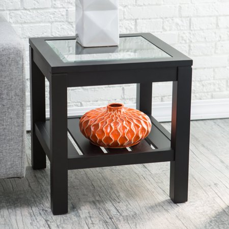 Sutton Glass Top End Table with Slat Bottom ()