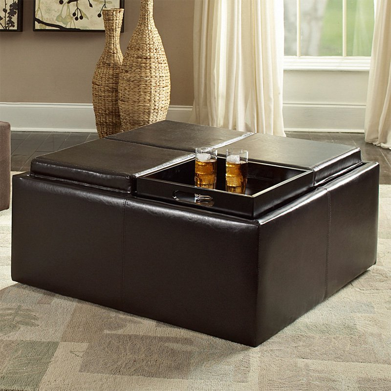 Superbe Cocktail Storage Ottoman With 4 Trays, Dark Brown Faux Leather