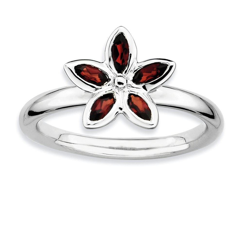 ICE CARATS 925 Sterling Silver Red Garnet Flower Band Ring Size 5.00 Stone Stackable Gemstone Birthstone January Fine Jewelry Ideal Gifts For Women Gift Set From Heart