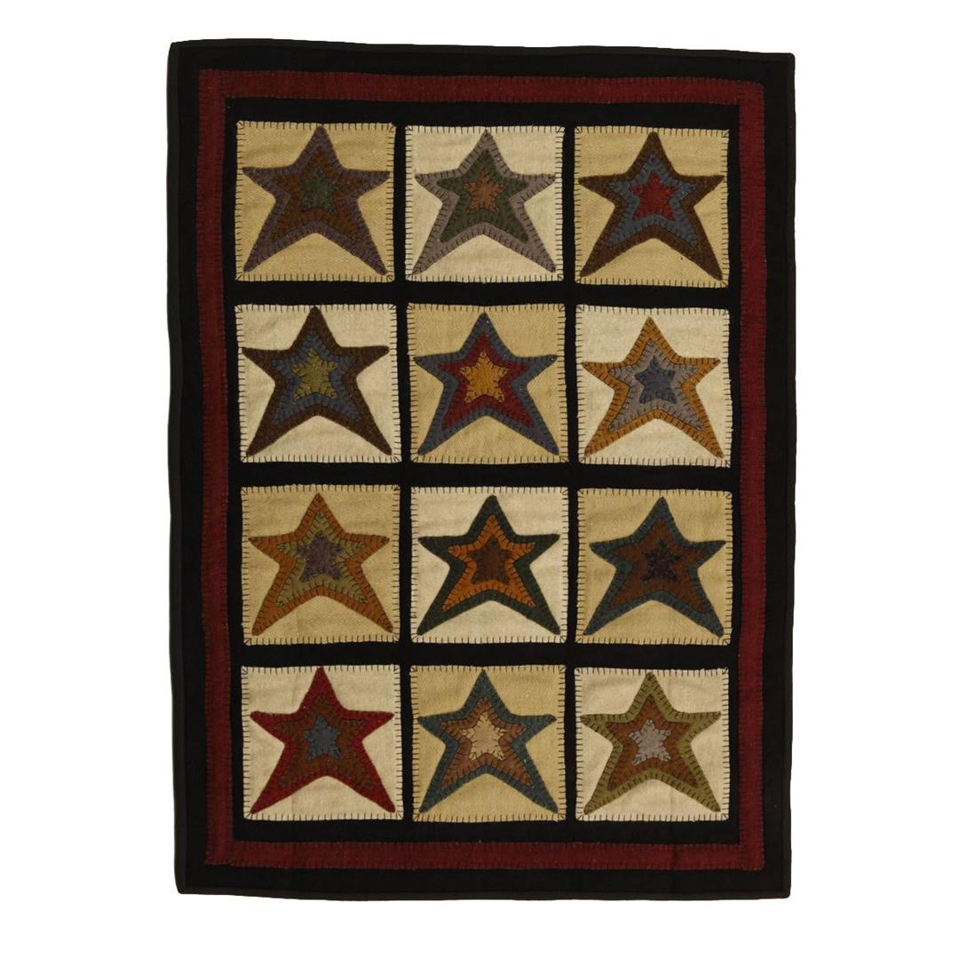 Homespice Star Patch Cream Hand Appliqued Rectangle Rug - (2 foot 6 inch x 6 foot)