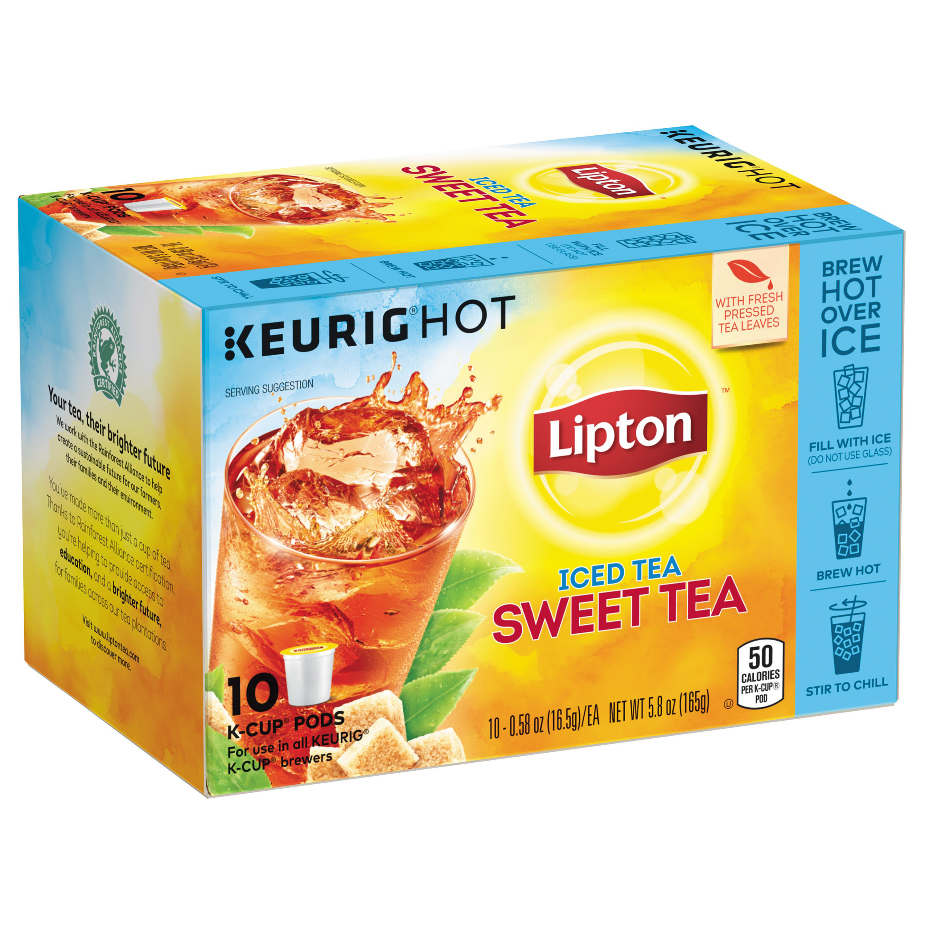 Lipton Sweet Tea K Cups Pods Iced Black Tea, 10 ct