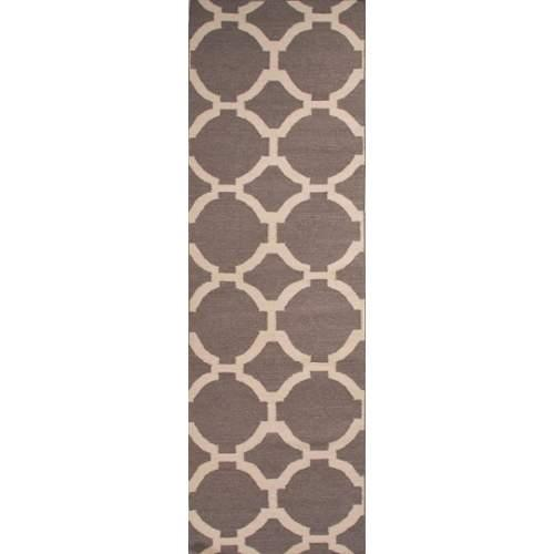 Flatweave Trellis, Chain And Tile Pattern Gray/Ivory  Wool Area Rug (2.6x8)