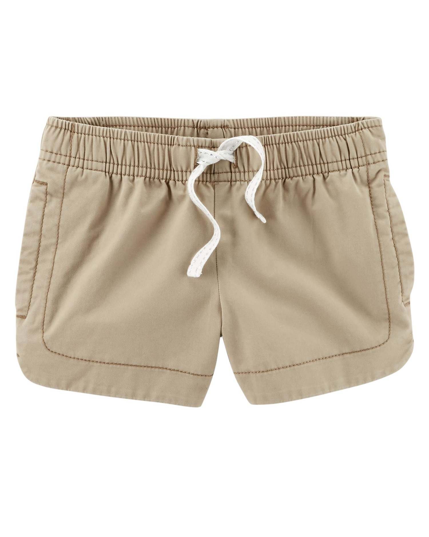 Carter's Little Girls' Easy Pull-On Twill Shorts, Khaki