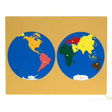 Montessori World Puzzle Map with Labeled and Unlabeled Control Maps
