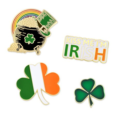 PinMart's St. Patrick's Day Shamrock Pot of Gold Irish Flag Enamel Lapel Pin Set - Shamrock Pin