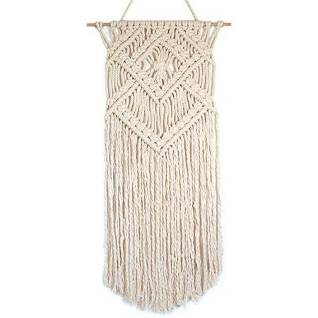 Barnyard Designs Macrame Wall Hanging Fringe Woven Wall Tapestry Boho Chic Bohemian Decor, Diamond Weave 31