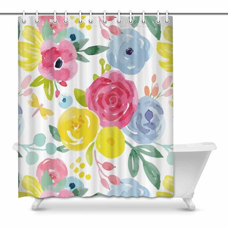 MKHERT Watercolor Floral Pattern Pink Blue Yellow Flowers Waterproof Polyester Fabric Shower Curtain Bathroom Sets 60x72 inch - Yellow Shower