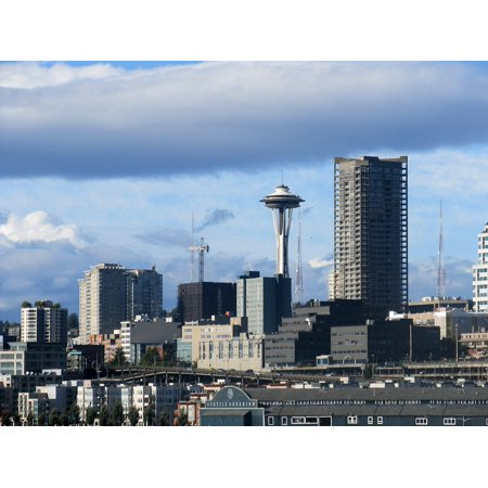 Space Needle (Canvas Print Space Port Ferry Needle Seattle Skyline Stretched Canvas 10 x 14)