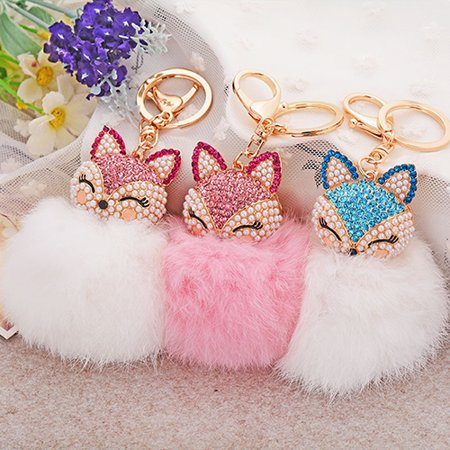 - Girl12Queen Cute Gift Bling Rhinestone Fox Rabbit Fluffy Ball Keychain Car Key Ring Pendant