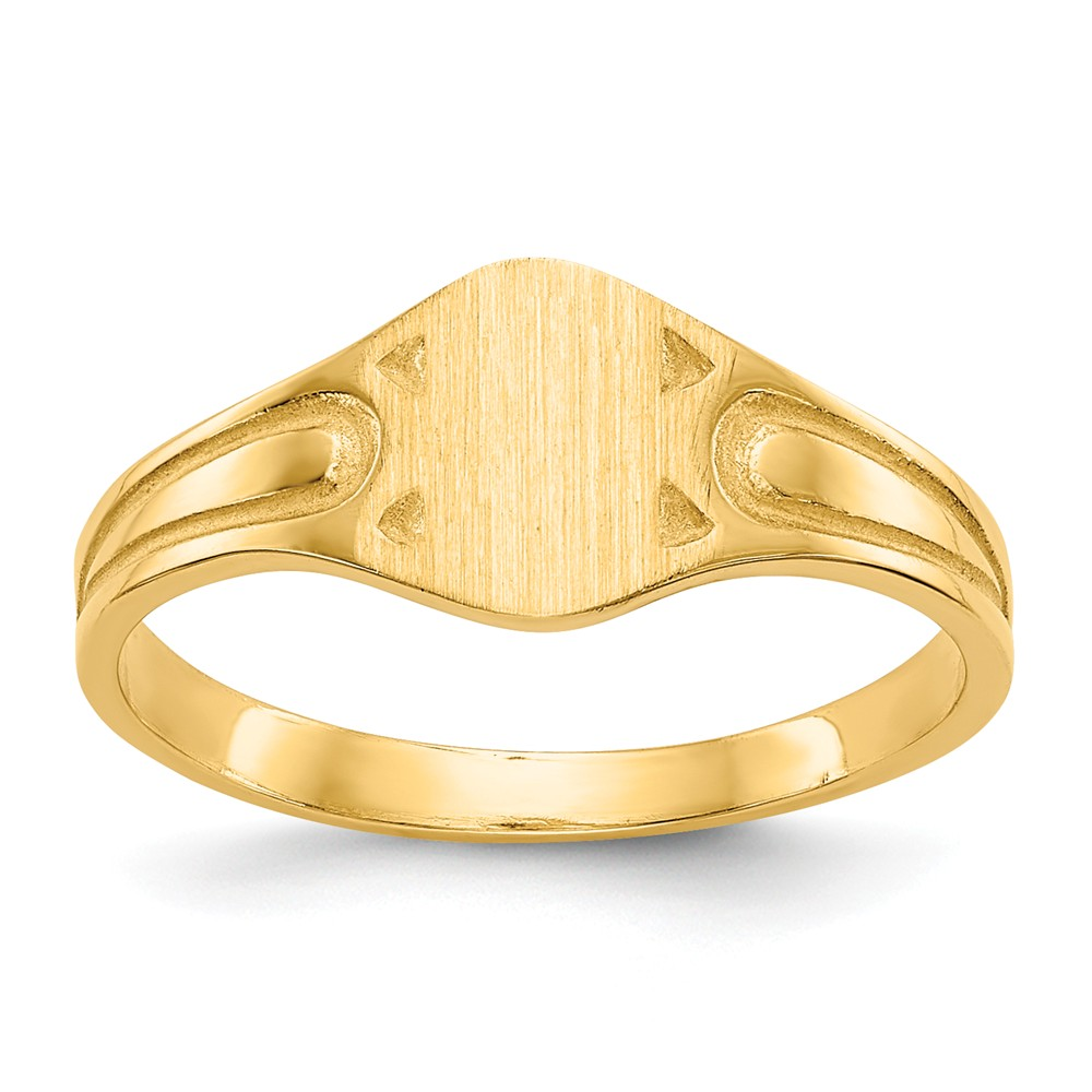 14k Yellow Gold Engravable Signet Ring (7.9mm x 5mm face)