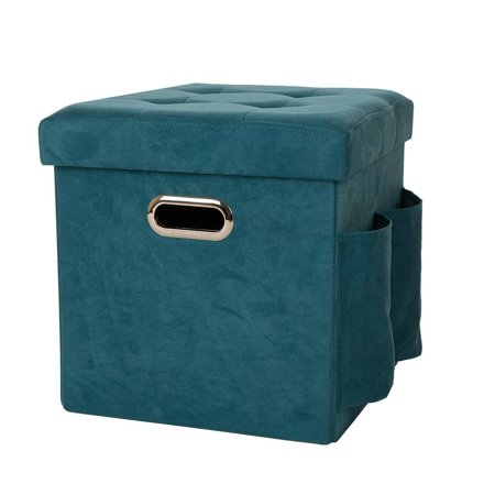 Suede Cube (Glitzhome Foldable Faux Suede Cube Storage Ottoman With Padded Seat)