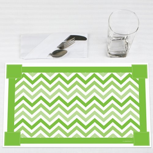 Chevron Green - Party Placemats - Set of 12
