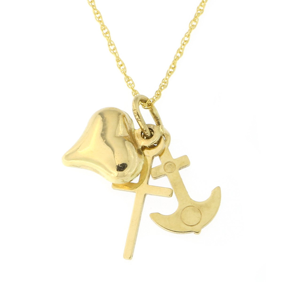 14k Yellow Gold Cross, Anchor and Heart Pendant Necklace