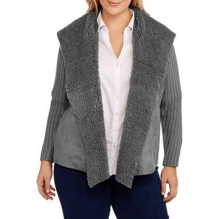 6f7bdf9feb4 Faded Glory - Women s Plus Faux Sherpa Rib Back Sweater Jacket - Walmart.com