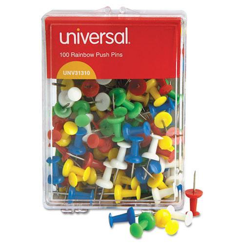 Universal Plastic Head Rainbow Color Push Pins, Steel 3/8'' Point, 100 per Pack                                                          (Set of 6)