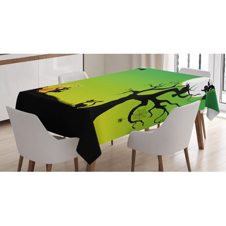 Halloween Decorations Tablecloth, Witch Dancing with Fire at Halloween Ancient Western Horror Image, Rectangular Table Cover for Dining Room Kitchen, 60 X 84 Inches, Green Black, by Ambesonne (Dancing Halloween Witches)