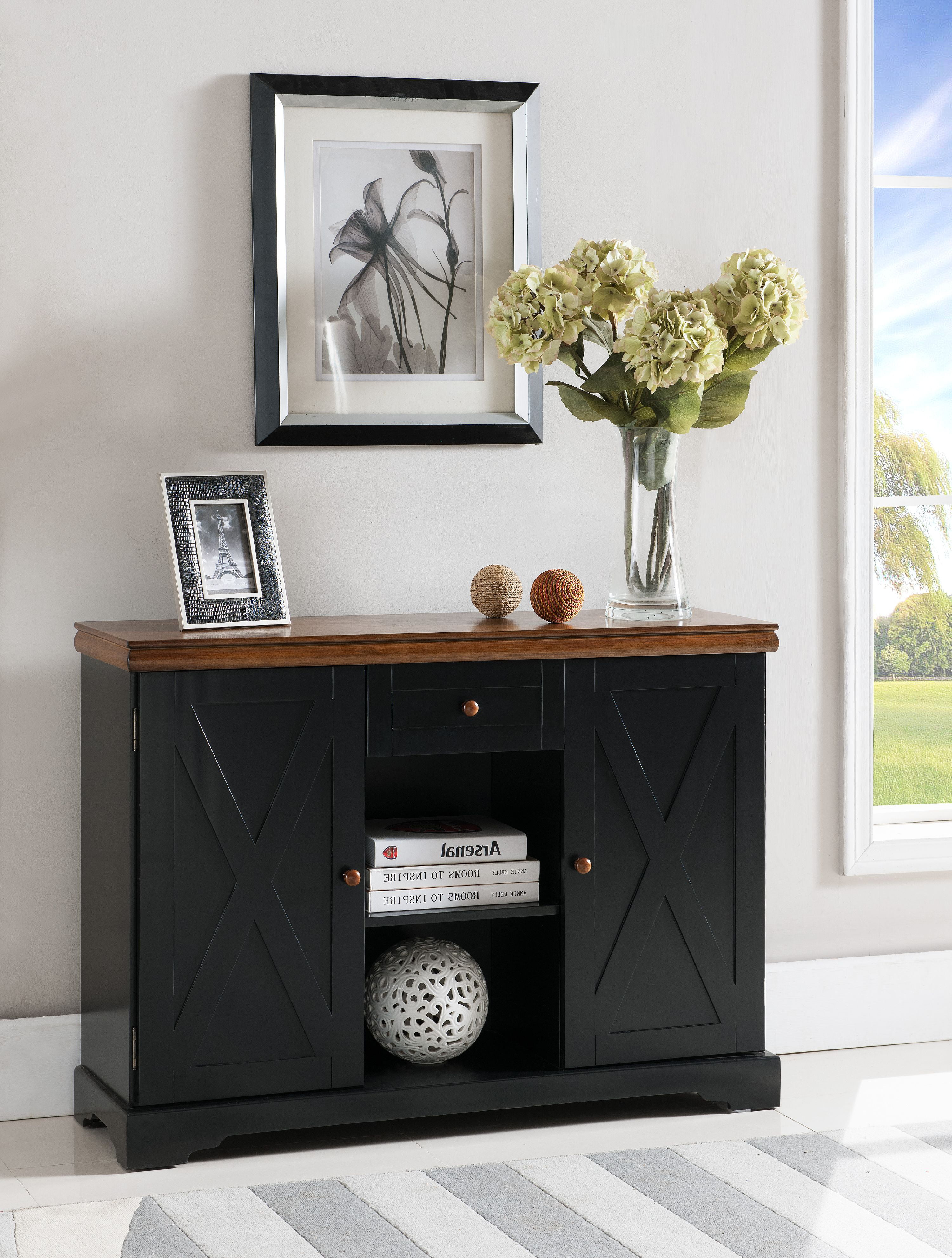 James Sideboard Buffet Cabinet Console Table With Storage Drawer Adjustable Shelves Black Walnut Top Wood Contemporary Walmart Com Walmart Com
