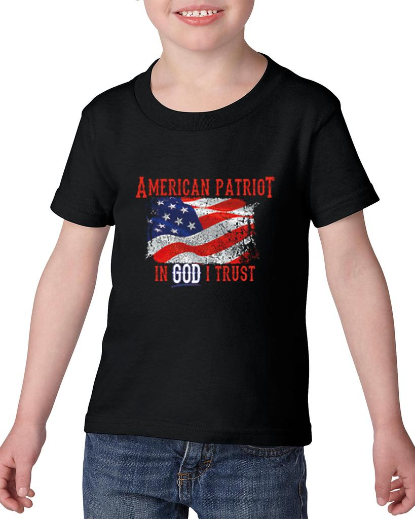 Artix American Patriot In God I Trust Gift for a Veteran Birthday Christmas Heavy Cotton Toddler Kids T-Shirt Tee Clothing