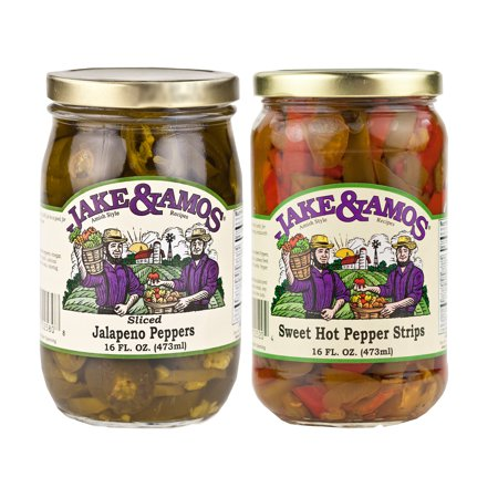 Jake & Amos Pickled Peppers Variety Pack 16 oz. Sweet & Hot Pepper (Best Sweet Pepper Varieties)
