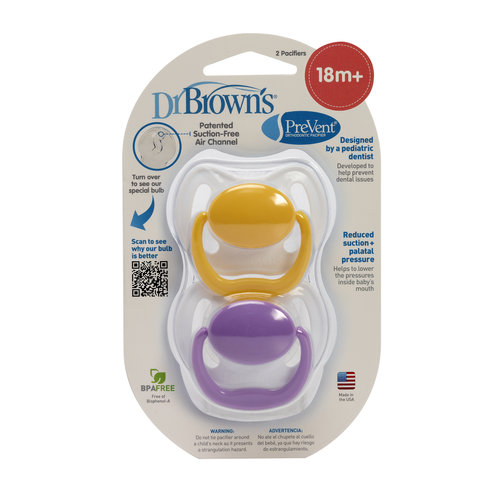 Dr. Brown's PreVent Orthodontic Pacifiers, 2 count