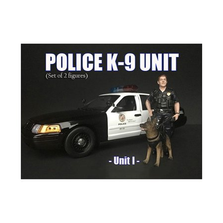 Police Officer Figure with K9 Dog Unit I for 1/24 Scale Models by American Diorama