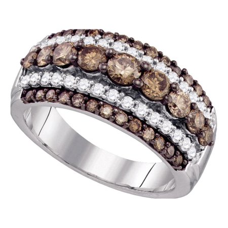 Brown Diamond Cocktail Ring 10k White Gold Fashion Band Dome Chocolate Cluster Style Fancy 1-1/2 ctw