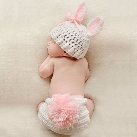 2019 Hot Sale Baby Clothing Cute Crochet Newborn Baby Photo Props Costume Baby Photograph Props Rabbit Flower Baby Girl Outfits Set
