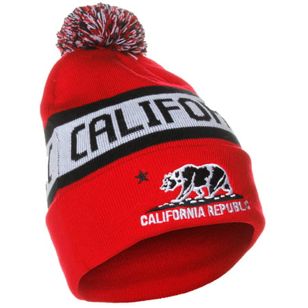 American Cities California Republic Bear Cuff Pom Pom Beanie Knit Hat Cap