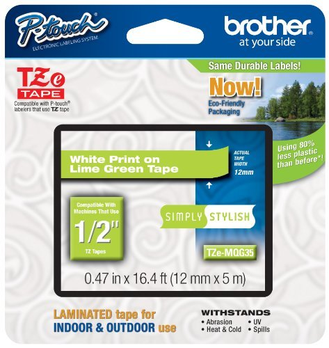 "Brother TZe-MQG35 White on Lime Green Label Tape - 0.47"" Width x 16.40 ft Length - Rectangle - Direct Thermal, Thermal Transfer - Lime Green"
