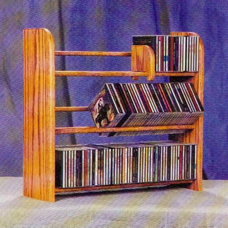 The Wood Shed Solid Oak 3 Row Dowel 165 CD Media Rack