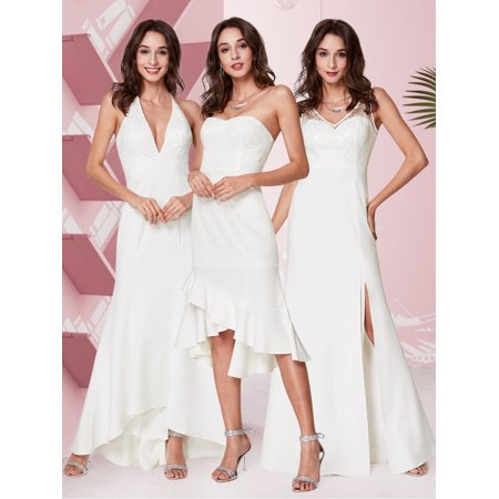 Ever-Pretty Womens Sexy Halter Deep V Neck Long Formal Evening Party Beach Wedding Dresses for Bride 07230 US 4