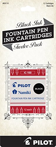 Black 12 per Pack Pack of 2 Pilot Namiki IC100 Fountain Pen Ink Cartridge
